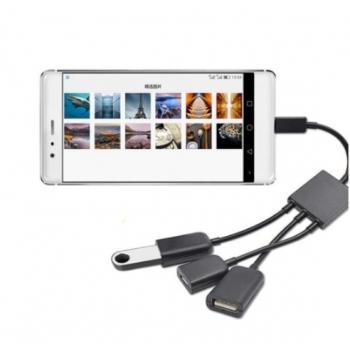 Micro USB/Type-C OTG HUB 2 USB с зарядкой