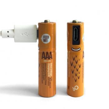 Аккумуляторные батарейки AAA с зарядкой от USB, 2шт