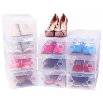 Прозрачные пластиковые коробки для хранения обуви