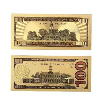 Золотая купюра 100 Долларов США 24К Золотая банкнота