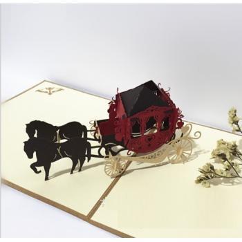 Объемная 3D открытка свадебная карета