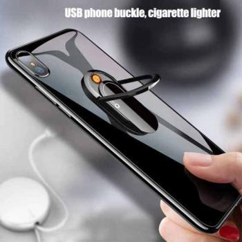 Держатель кольцо для телефона (попсокет) с USB зажигалкой