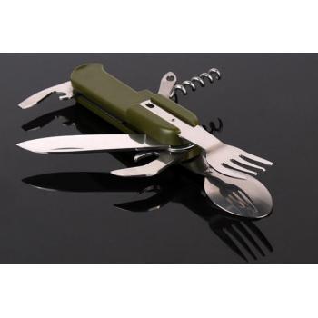 Складной нож с ложкой, вилкой, открывашкой и штопором