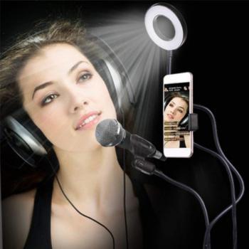 Штатив-держатель смартфона и микрофона с кольцевой LED лампой