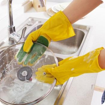 Прочные латексные перчатки с губкой для мытья посуды