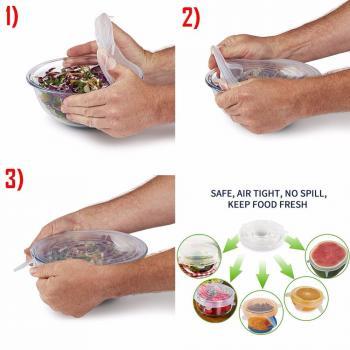 Растягивающиеся силиконовые крышки для посуды 6 шт