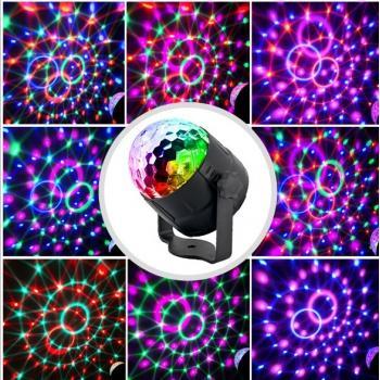 Цветомузыкальный проектор Диско шар RGB 15 режимов с пультом