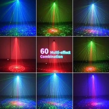 Светодиодно-лазерный цветомузыкальный диско проектор 60 шаблонов