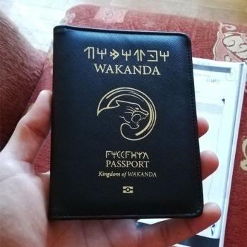 Обложка чехол на паспорт с символикой Ваканды (Wakanda)