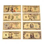 Набор 7 золотых купюр США доллары